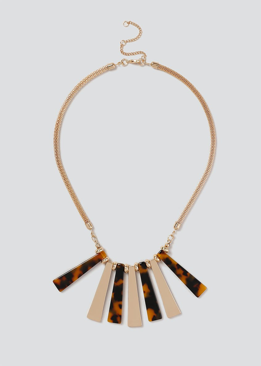 Tortoiseshell & Gold Piano Collar Necklace