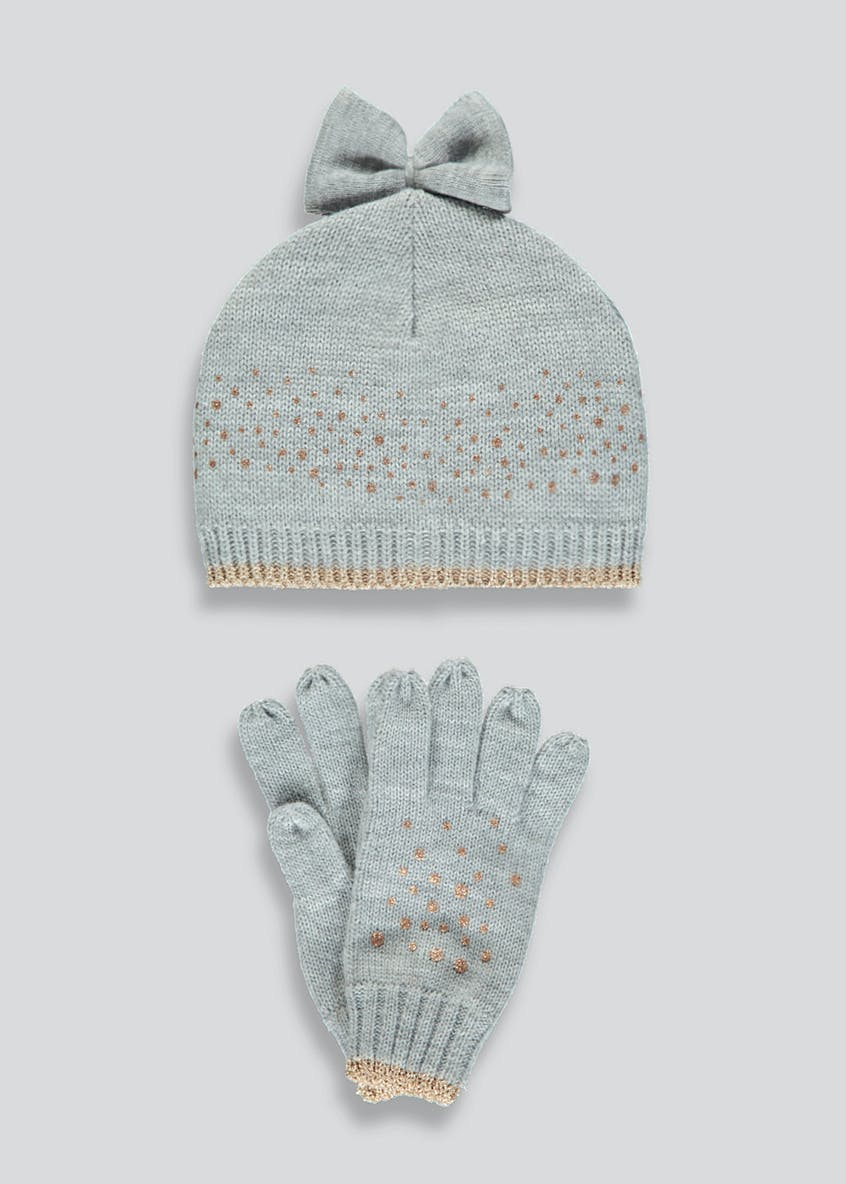 Girls Lurex Sparkle Hat & Gloves Set (3-13yrs)