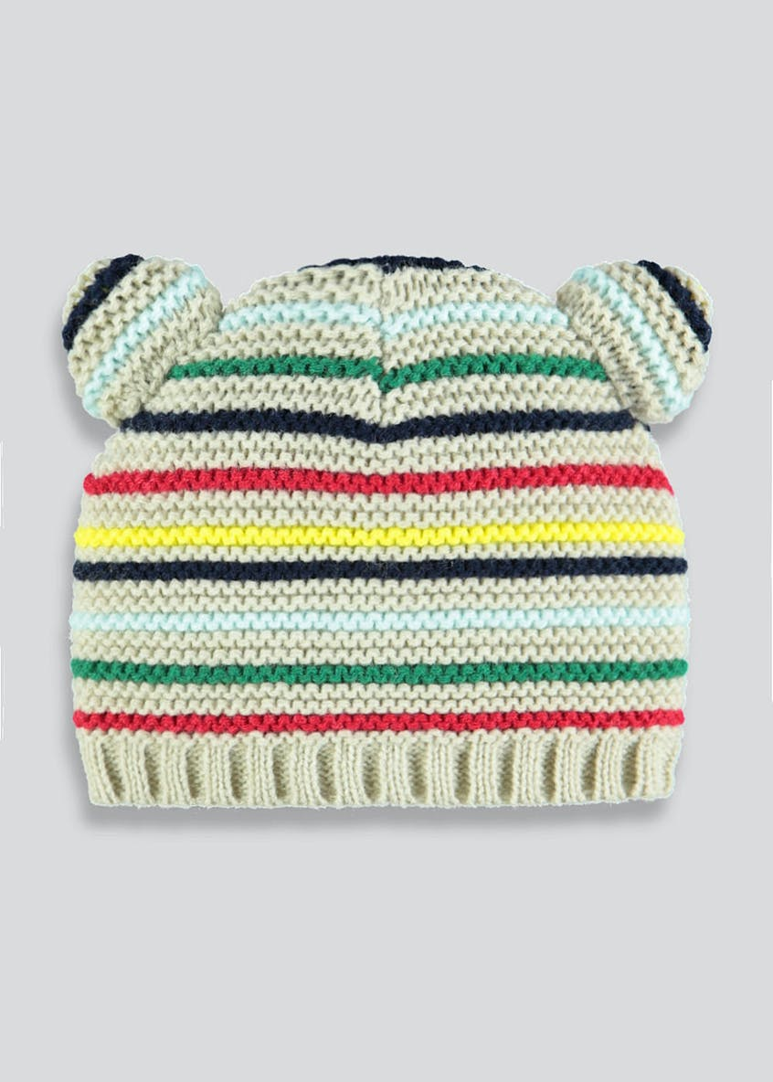 Unisex Stripe Bear Ears Beanie Hat (Newborn-23mths)