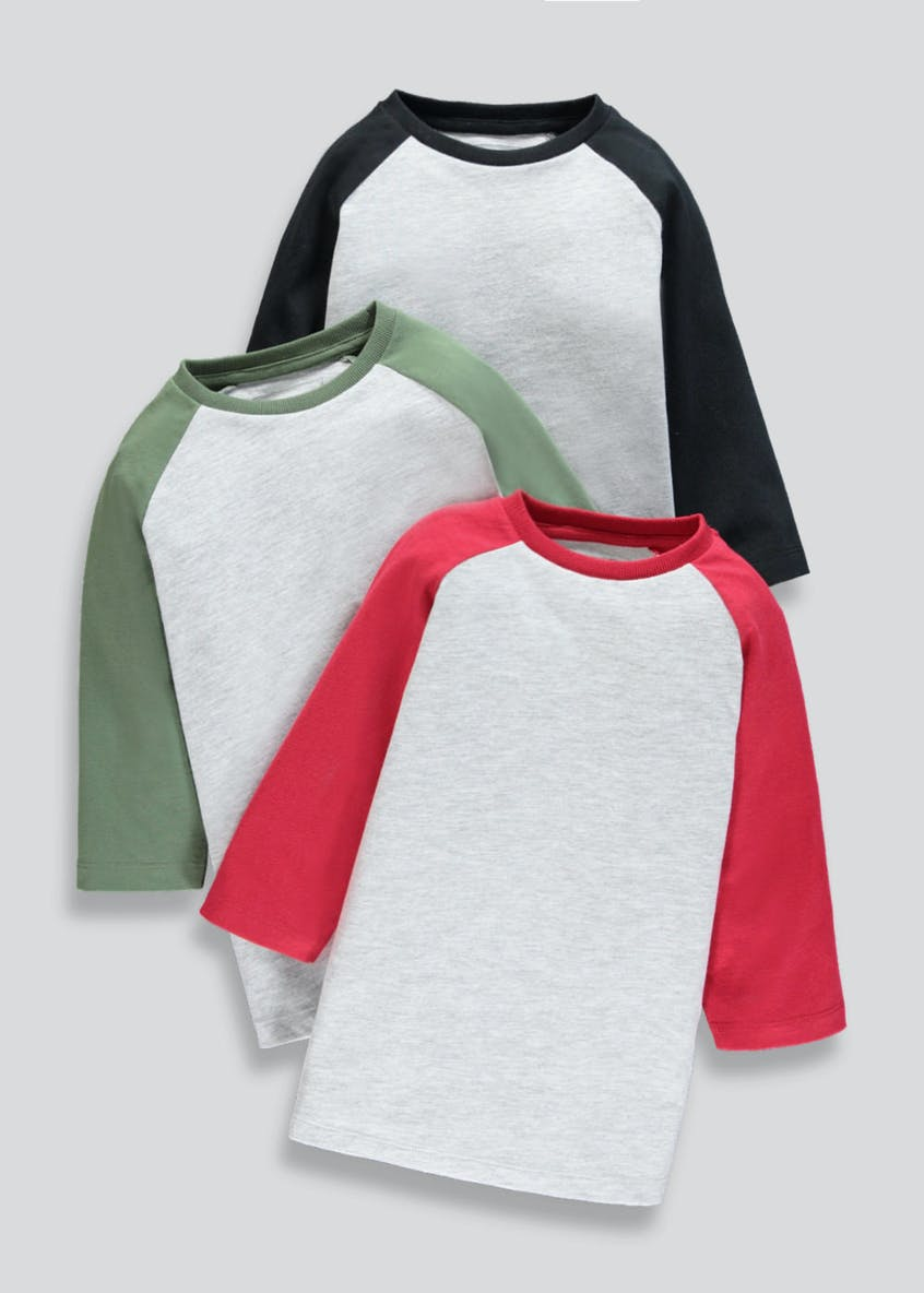 Kids 3 Pack Raglan Sleeve T-Shirts (4-13yrs)