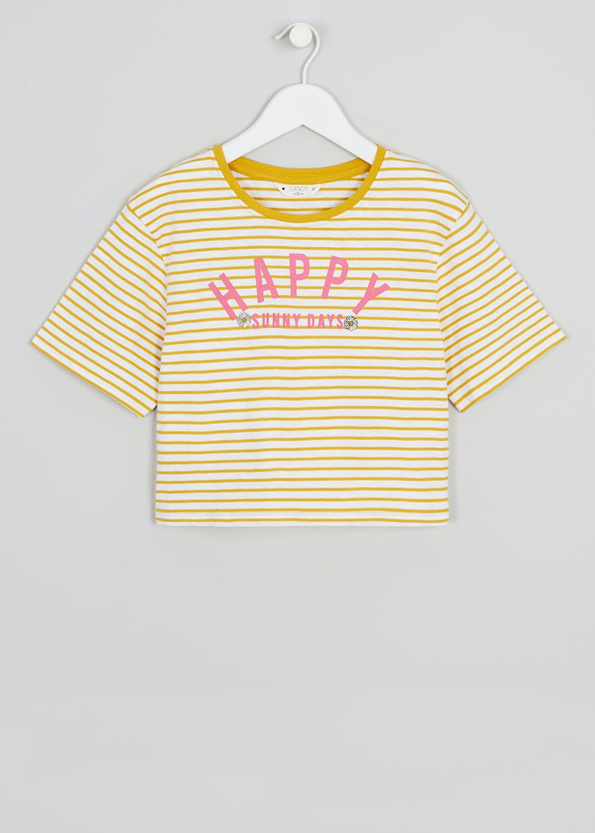 Girls Candy Couture Happy Slogan Cropped T-Shirt (9-16yrs)