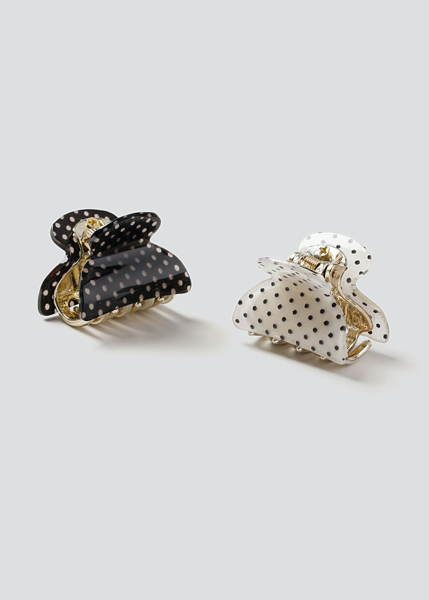 2 Pack Polka Dot Mini Hair Claw