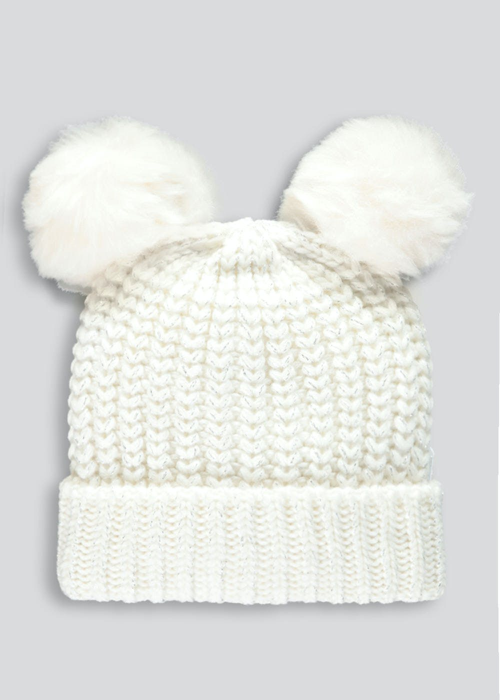 Unisex Double Pom Pom Lurex Bobble Hat (3mths-3yrs) – Cream – Matalan e23e6851d313