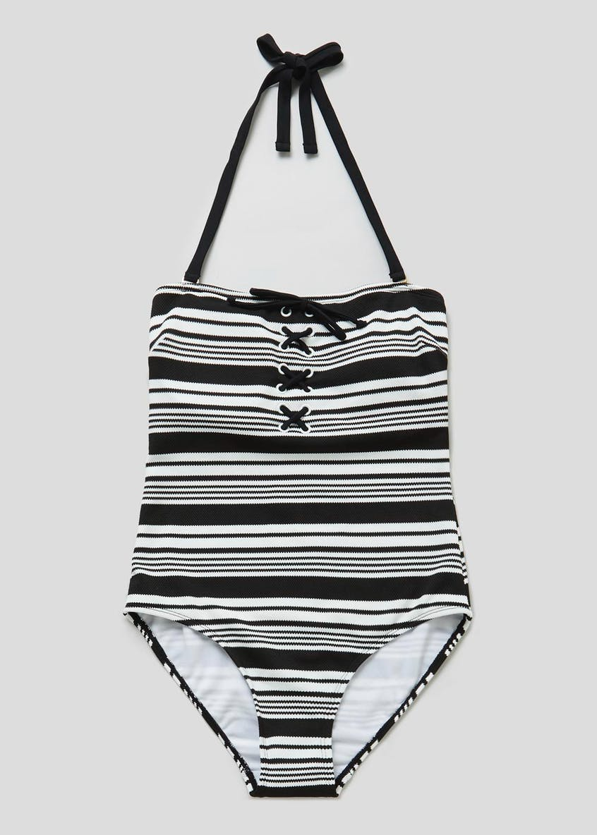 Textured Stripe Lace Up Swimsuit