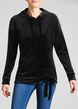 Ruched Velour Hoodie