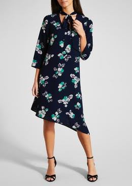 FWM Floral Asymmetric Tie Neck Dress