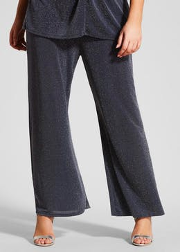 Papaya Curve Lurex Wide Leg Trousers