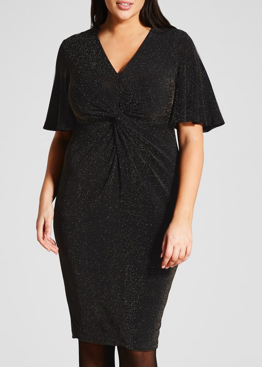 Papaya Curve Metallised Glitter Twist Front Midi Dress