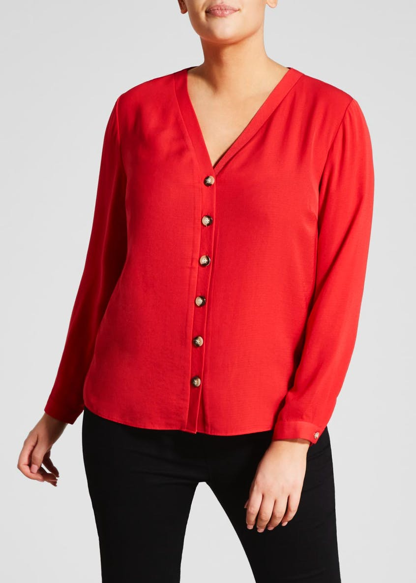 Papaya Curve Button Through Blouse