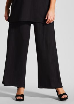 Papaya Curve Plisse Cropped Trousers