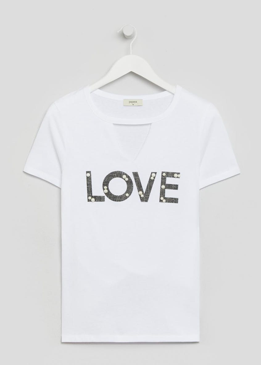 Pearl Love Slogan Choker T-Shirt