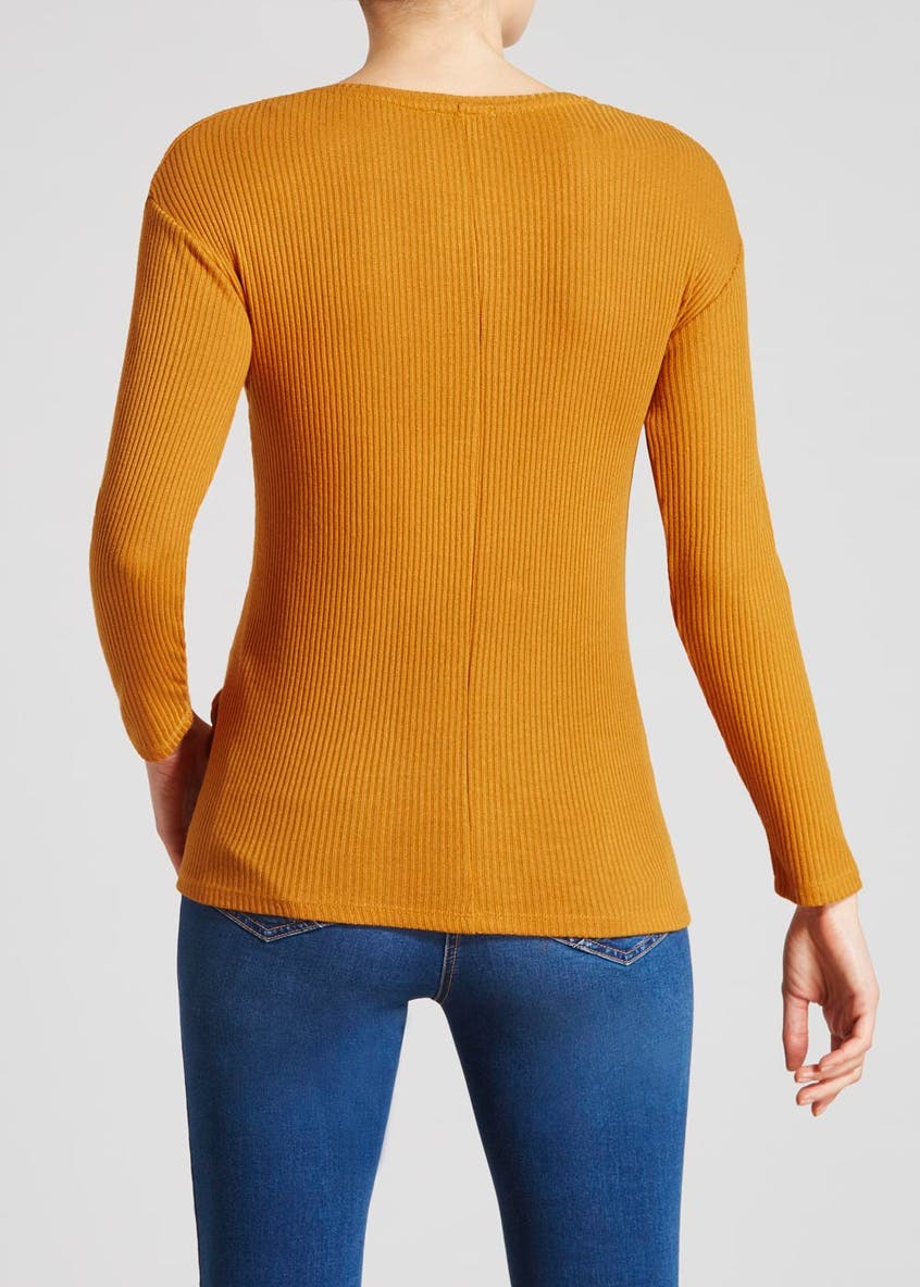 Ribbed Button Hem Long Sleeve Top