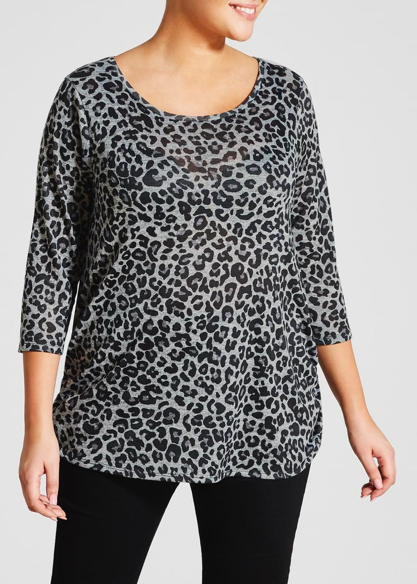 Papaya Curve Animal Print Ruched Side Top