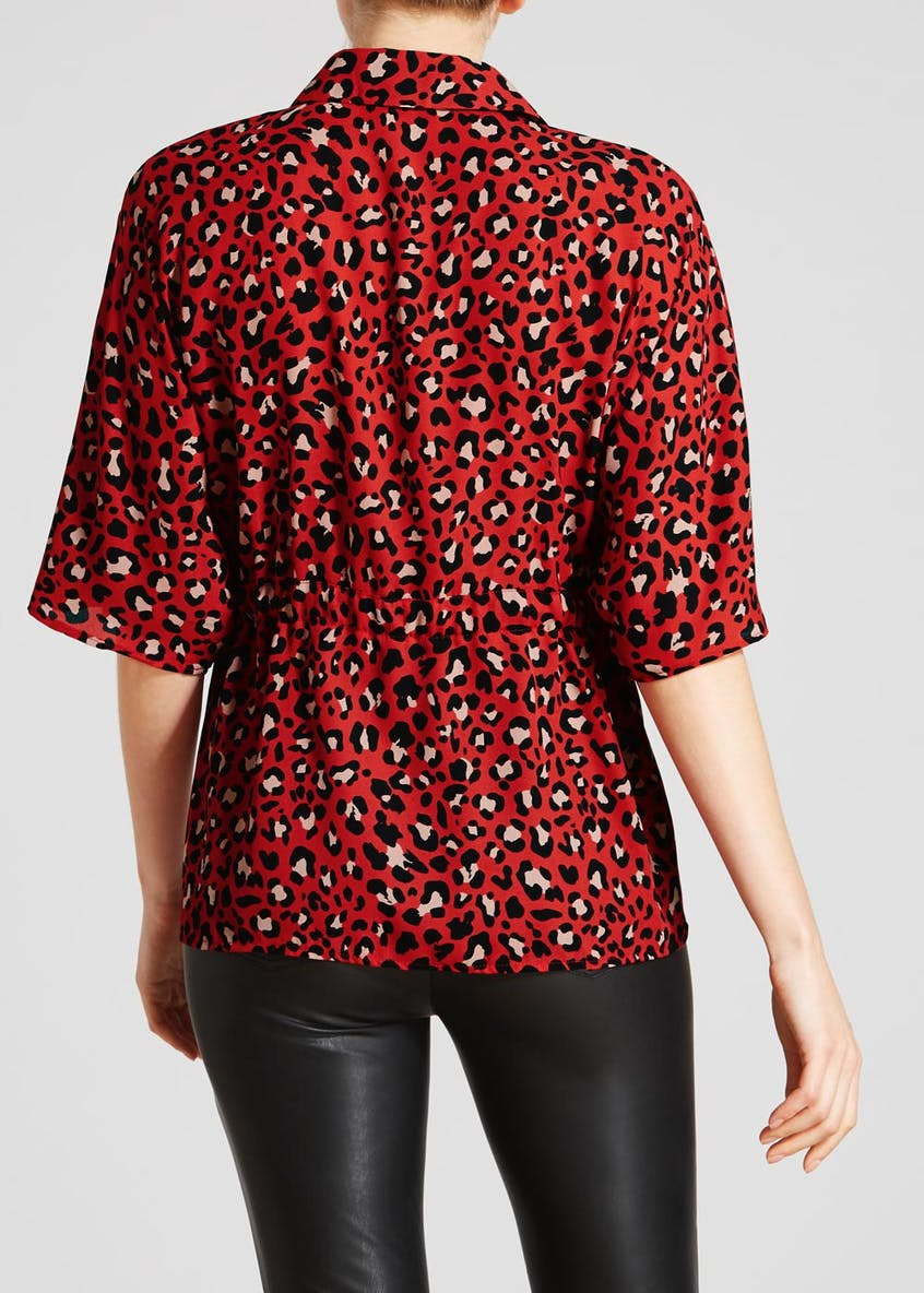 Animal Print Tie Waist Blouse