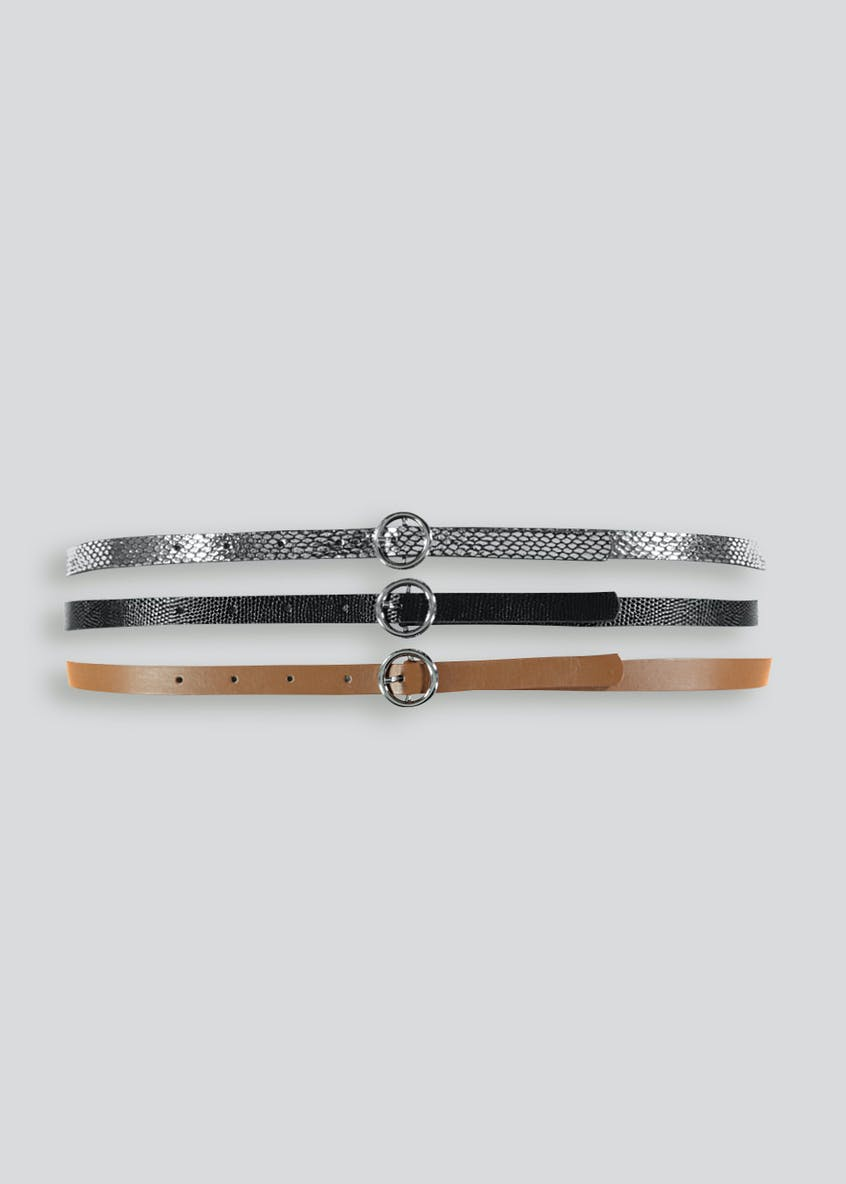 3 Pack Circle Buckle Belts