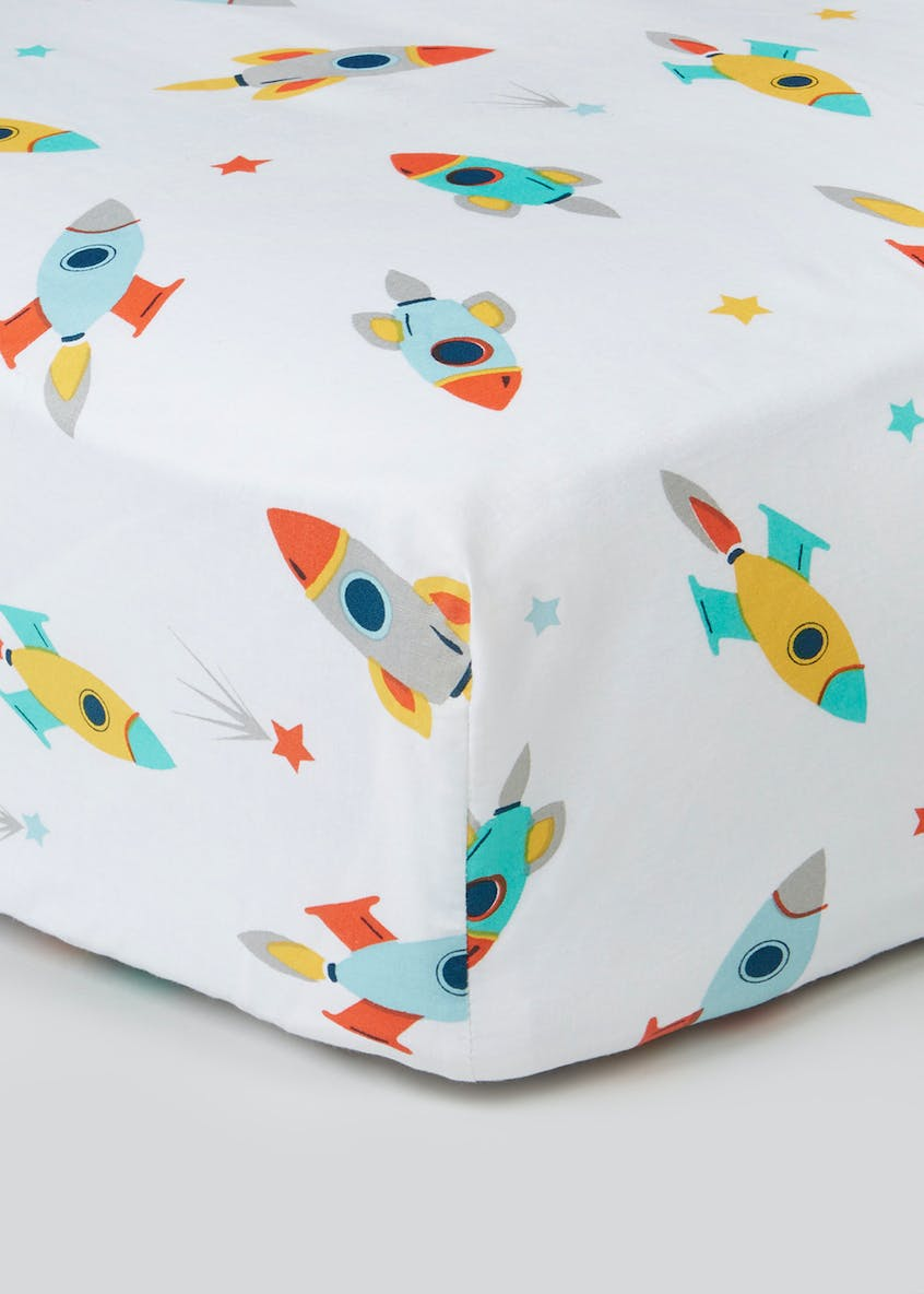 100% Cotton Space Print Fitted Sheet & Pillowcase Set