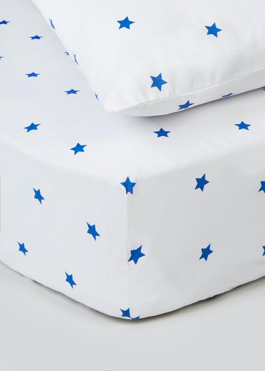 100% Cotton Star Print Fitted Sheet & Pillowcase Set