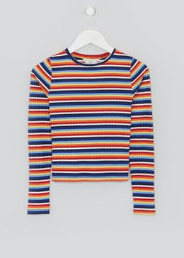 Girls Candy Couture Rainbow Stripe Ribbed Top (9-16yrs)