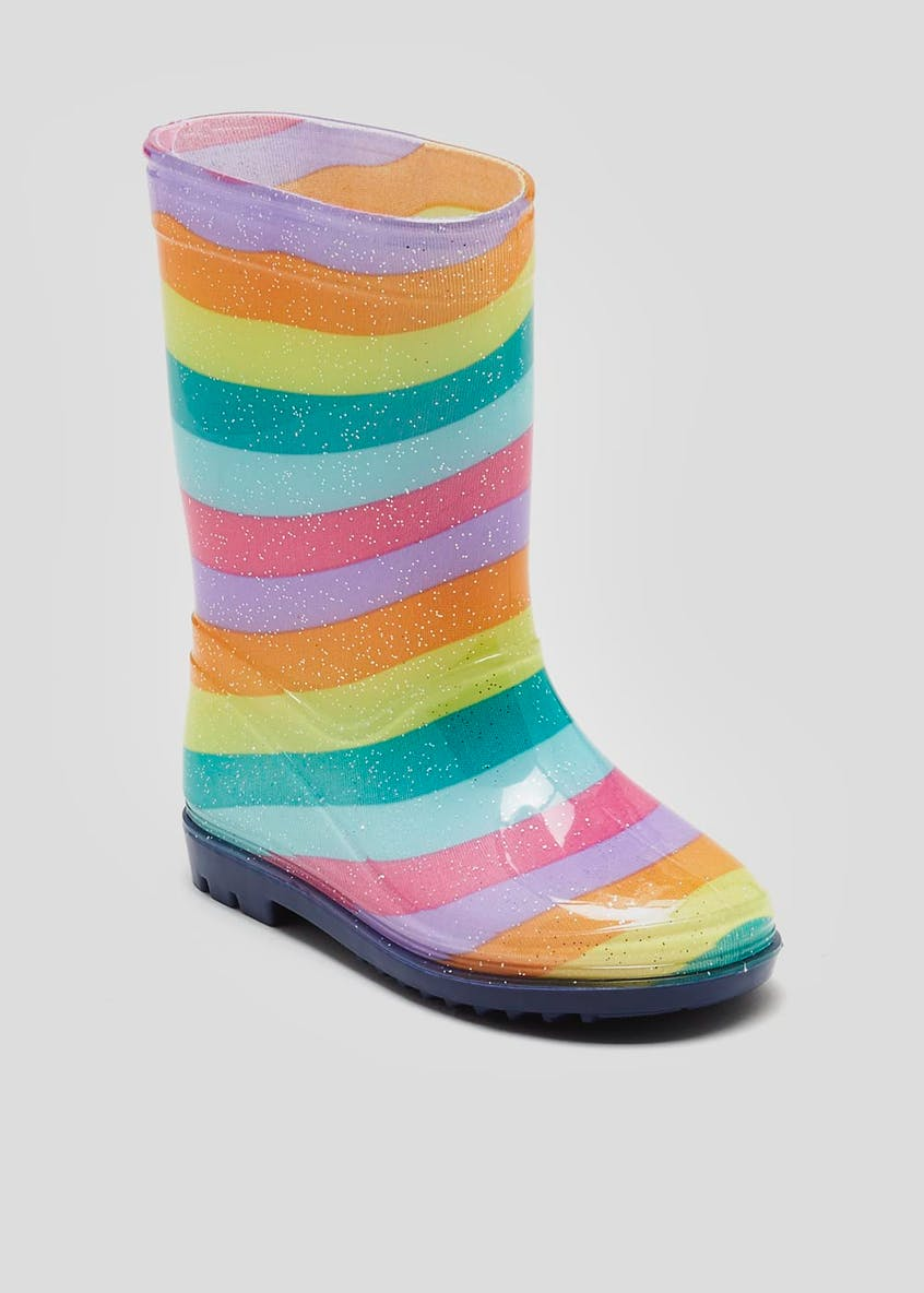 Kids Glitter Stripe Wellies (Younger 4-12)