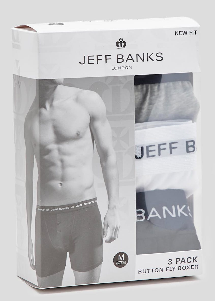 Jeff Banks 3 Pack Button Fly Boxers