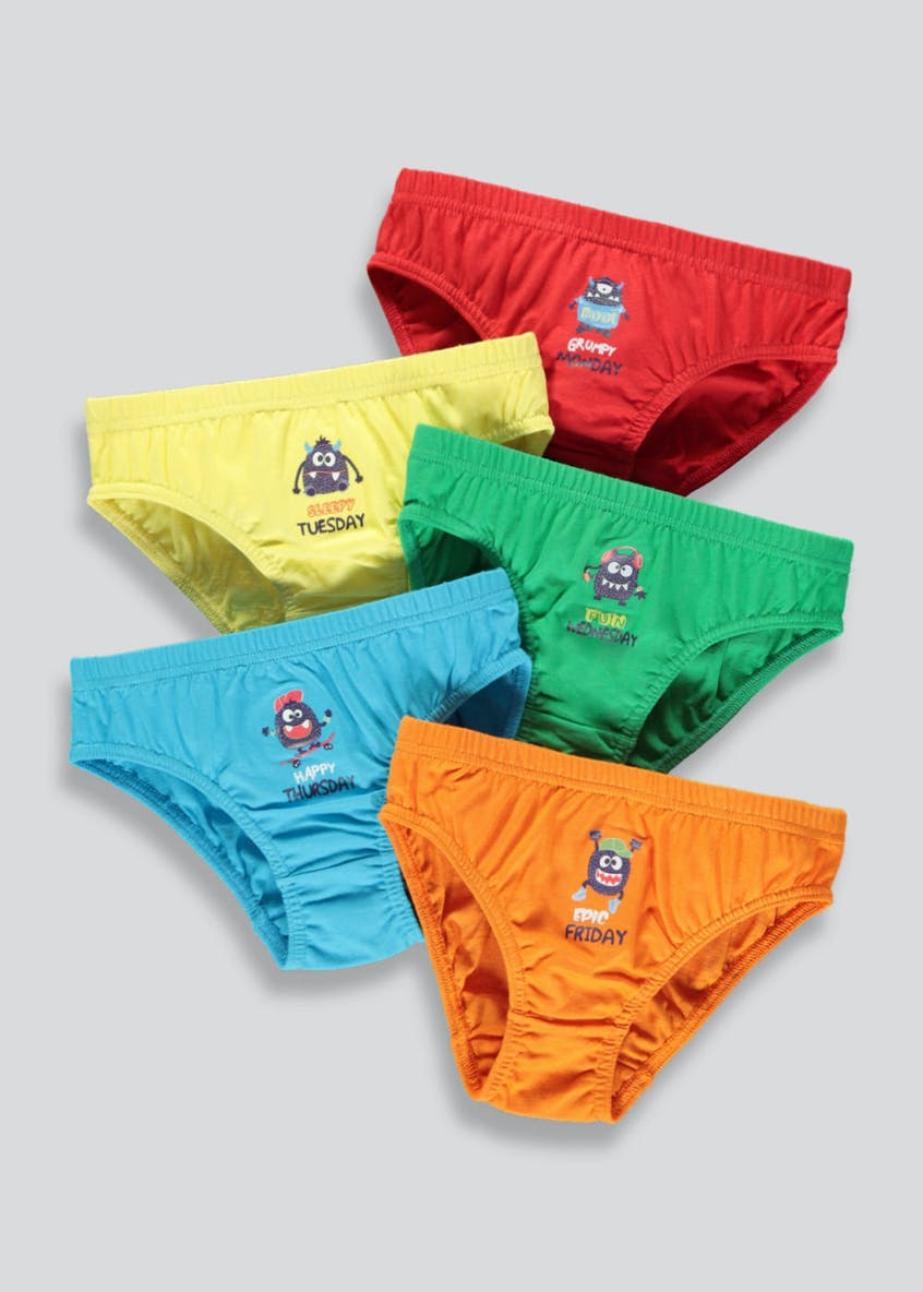 Boys 5 Pack Monster Days of the Week Briefs (18mths-7yrs)