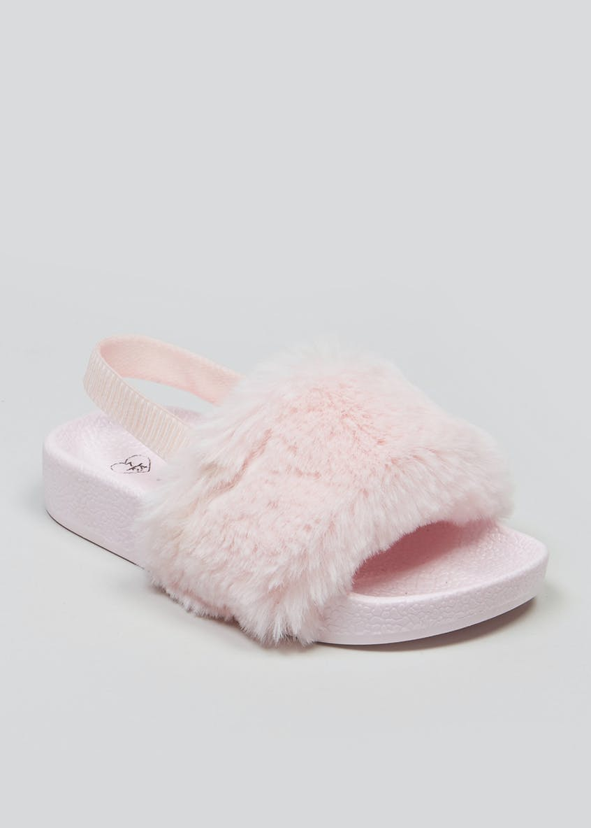 Girls Faux Fur Sliders (Younger 4-9yrs)