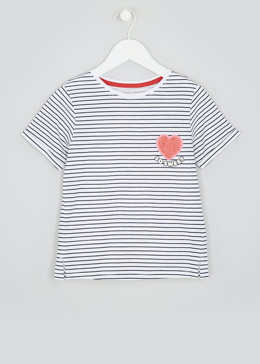 Girls Sweet Slogan Stripe T-Shirt (4-13yrs)