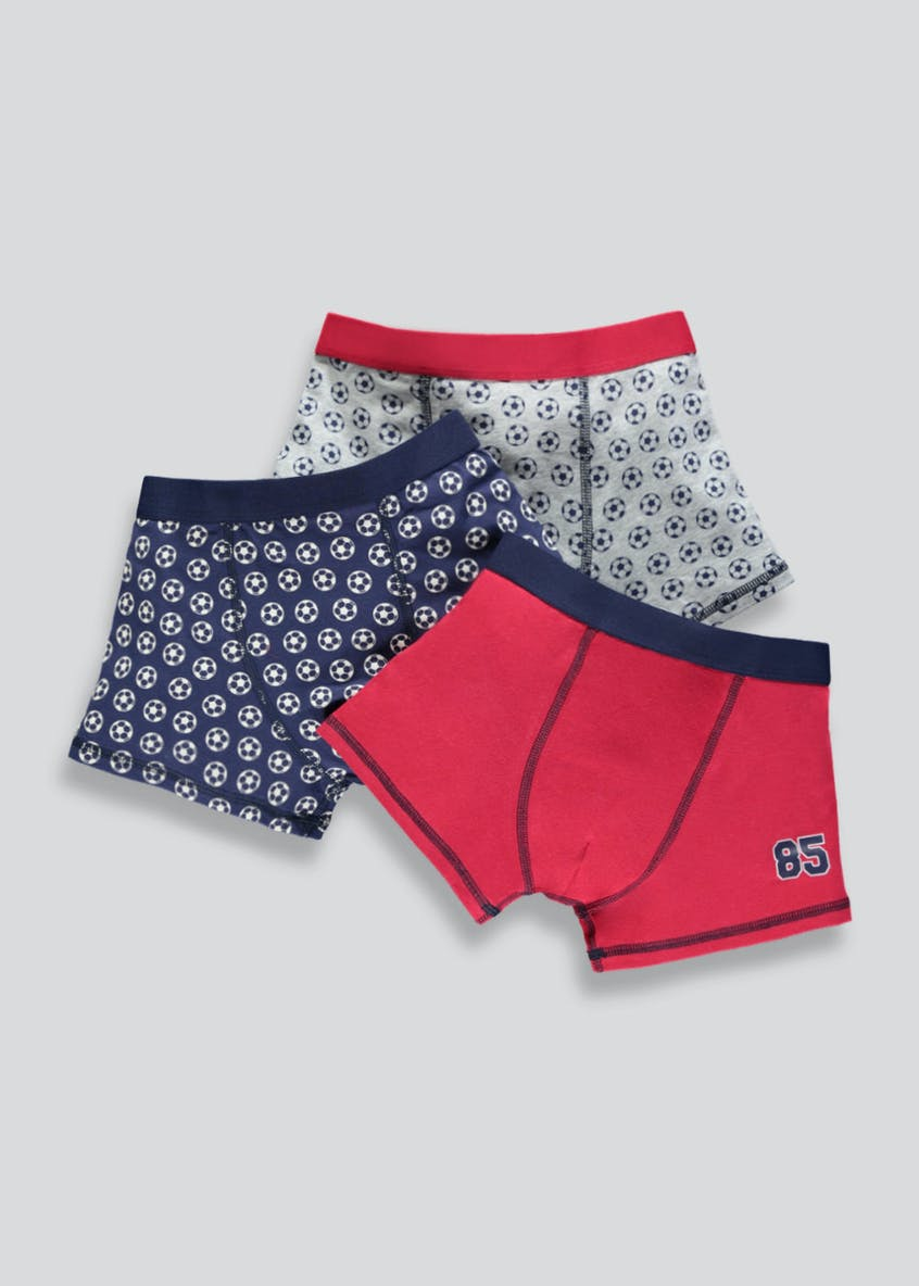 Boys 3 Pack Football Trunks (2-13yrs)