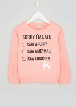 Girls Sorry Slogan Sweatshirt (4-13yrs)