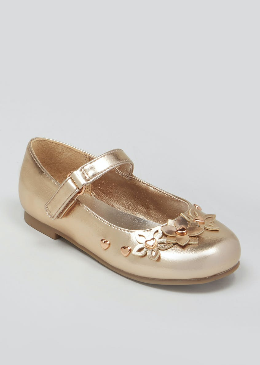 Girls Metallic Flower Ballet Shoes (Younger 4-12)