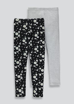 Girls 2 Pack Daisy Leggings (4-13yrs)