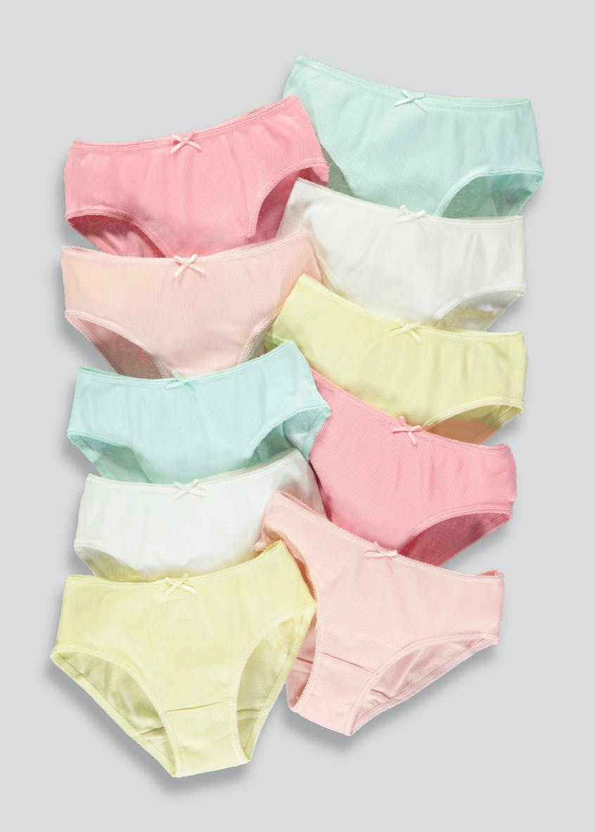 Girls 10 Pack Ribbed Knickers (4-13yrs)