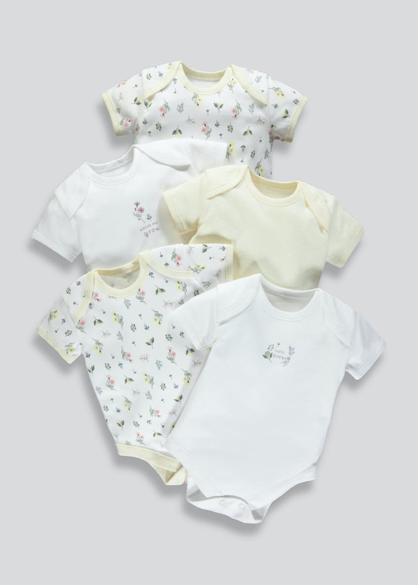 Girls 5 Pack Floral Bodysuits (Tiny Baby-23mths)