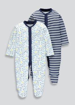 Unisex 2 Pack Whale Baby Grows (Tiny Baby-18mths)