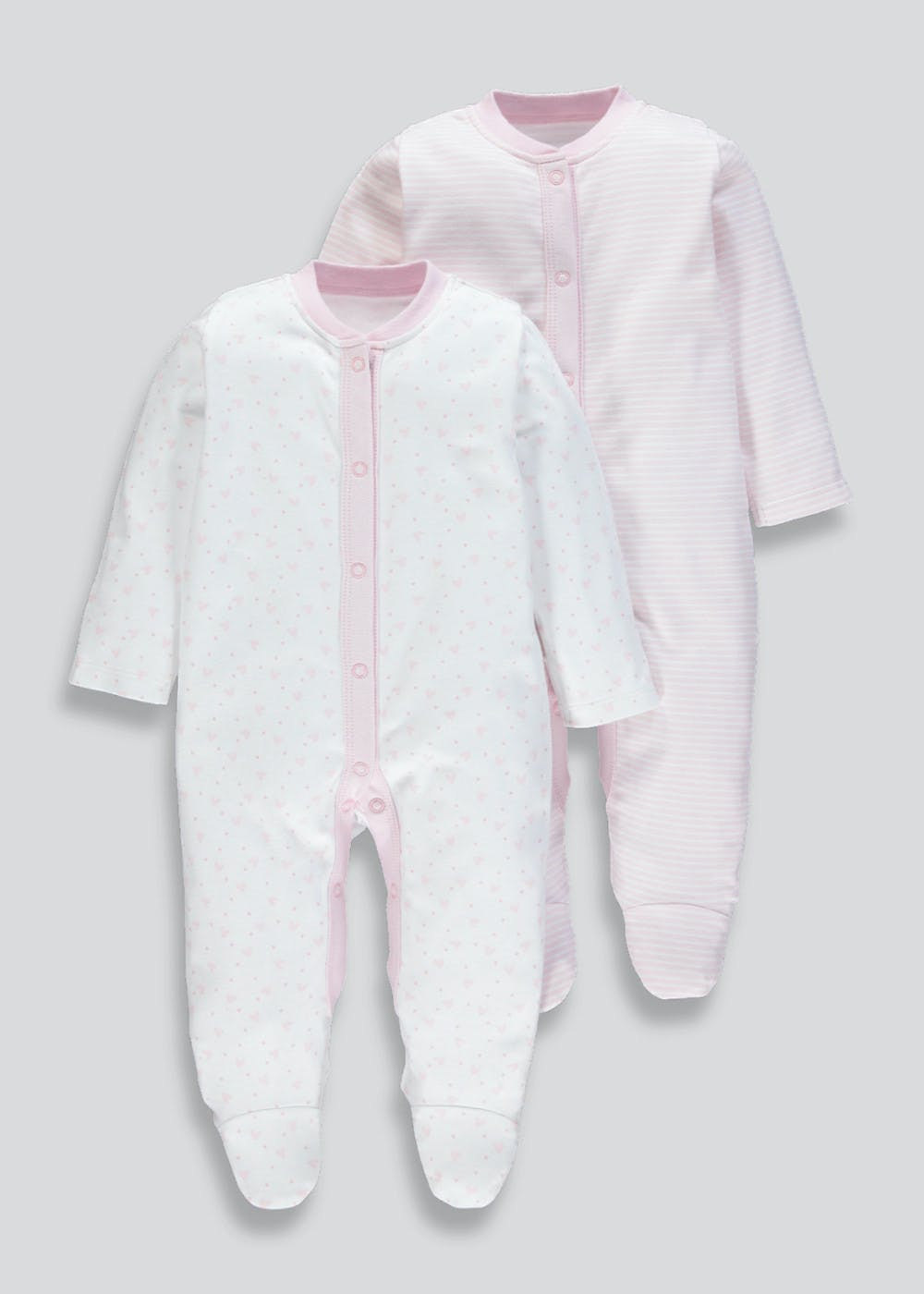 9b2a78cc2036 Unisex 2 Pack Baby Grows (Tiny Baby-18mths) – Pink – Matalan