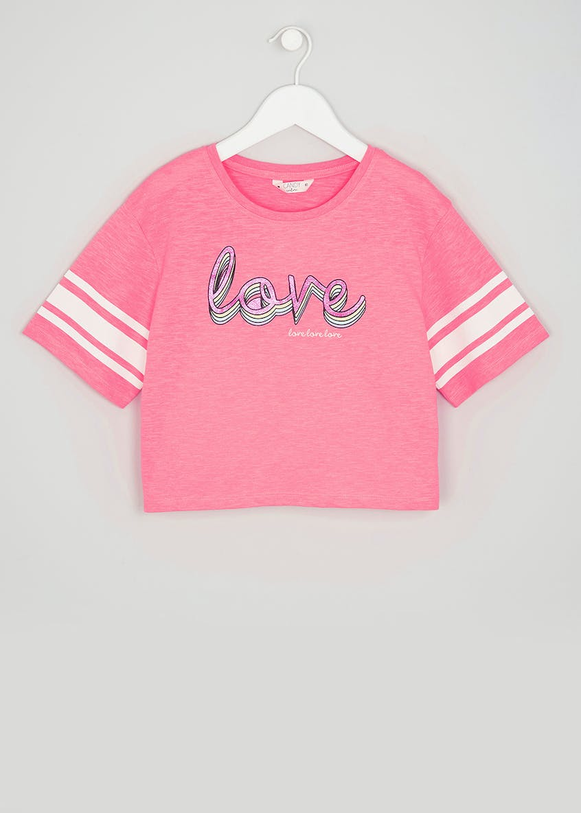 Girls Candy Couture Love Slogan Cropped T-Shirt (9-16yrs)