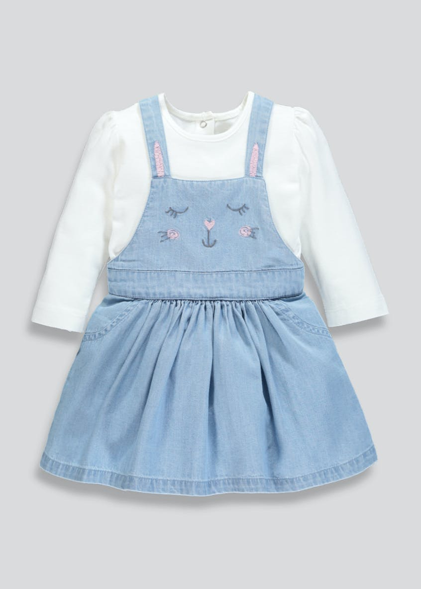 Girls Denim Pinafore Dress & T-Shirt Set (Newborn-18mths)