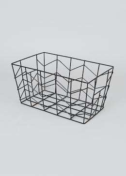 Chevron Wire Storage Basket (25cm x 18cm x 15cm)