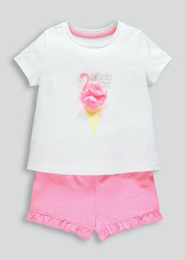Girls Flamingo T-Shirt & Shorts Set (9mths-6yrs)