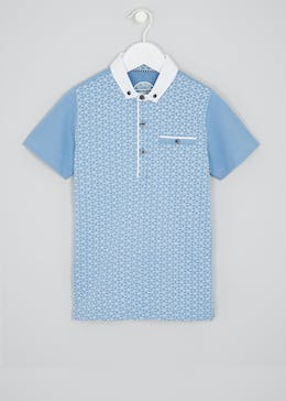 Boys Geo Print Smart Polo Shirt 4 13yrs