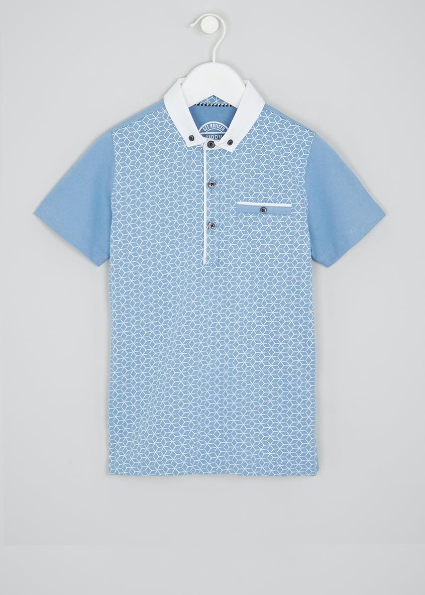 Boys Geo Print Smart Polo Shirt (4-13yrs)