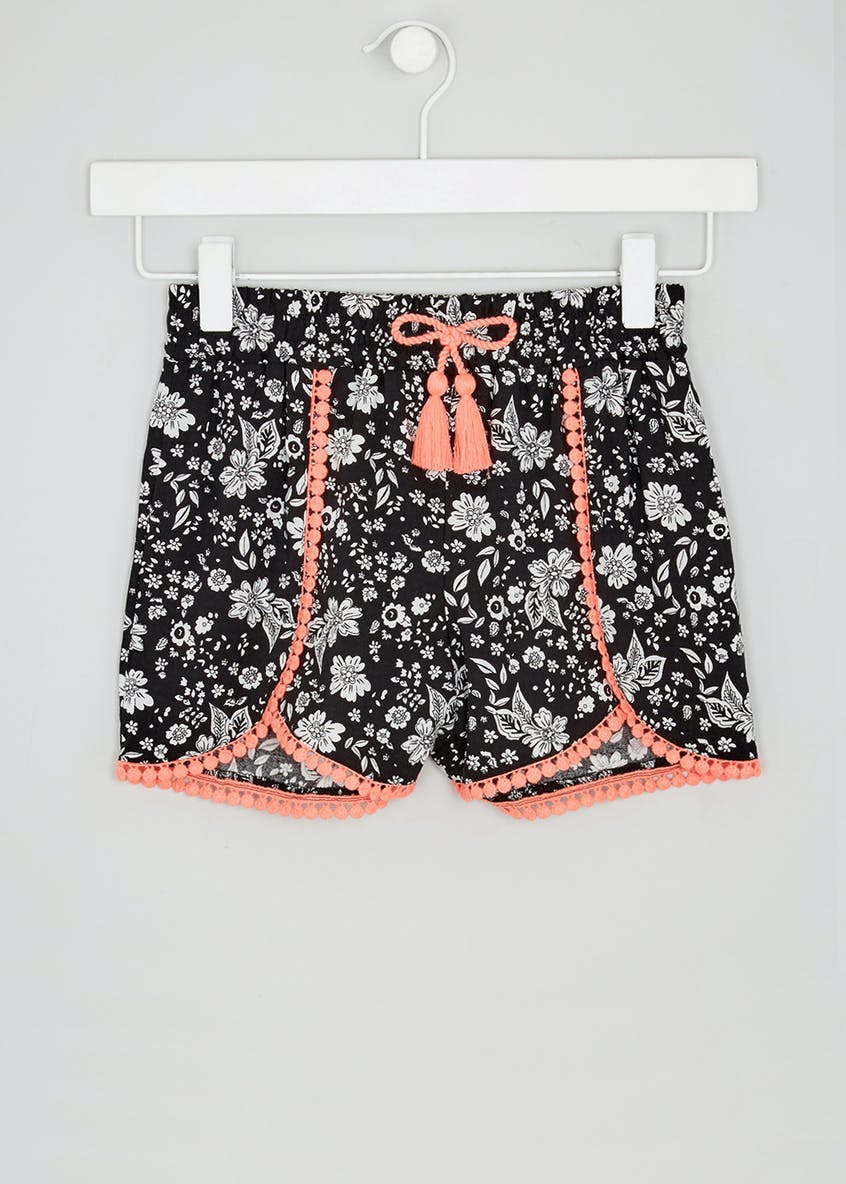 Girls Floral Pom Pom Viscose Shorts (4-13yrs)
