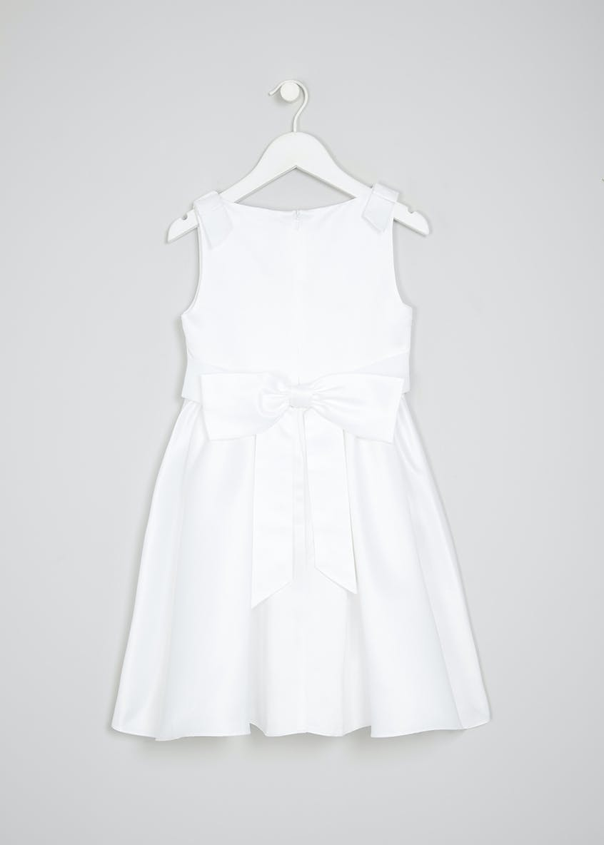 Girls Pleated Bow Flower Girl Dress (12mths-13yrs)