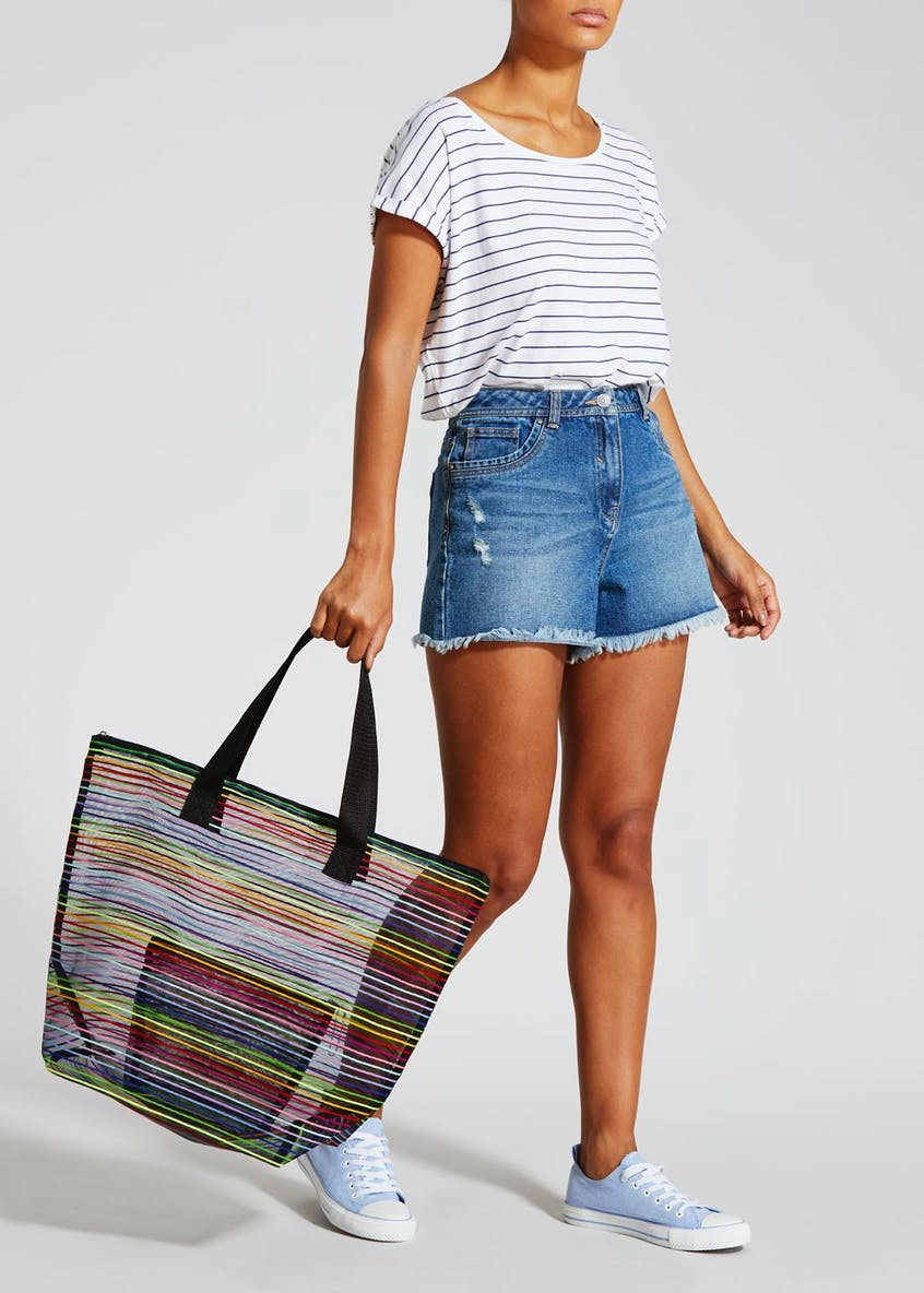Rainbow Stripe Mesh Beach Bag with Purse