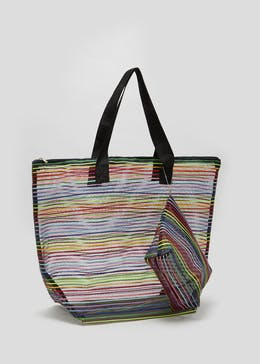 ded9890c8f Rainbow Stripe Mesh Beach Bag with Purse