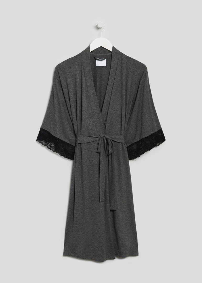 Lace Trim Dressing Gown