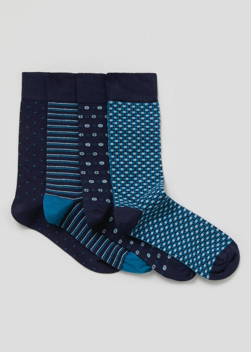 4 Pack Printed Relaxed Hold Socks
