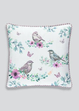 Embroidered Bird Butterfly Cushion (46cm x 46cm)