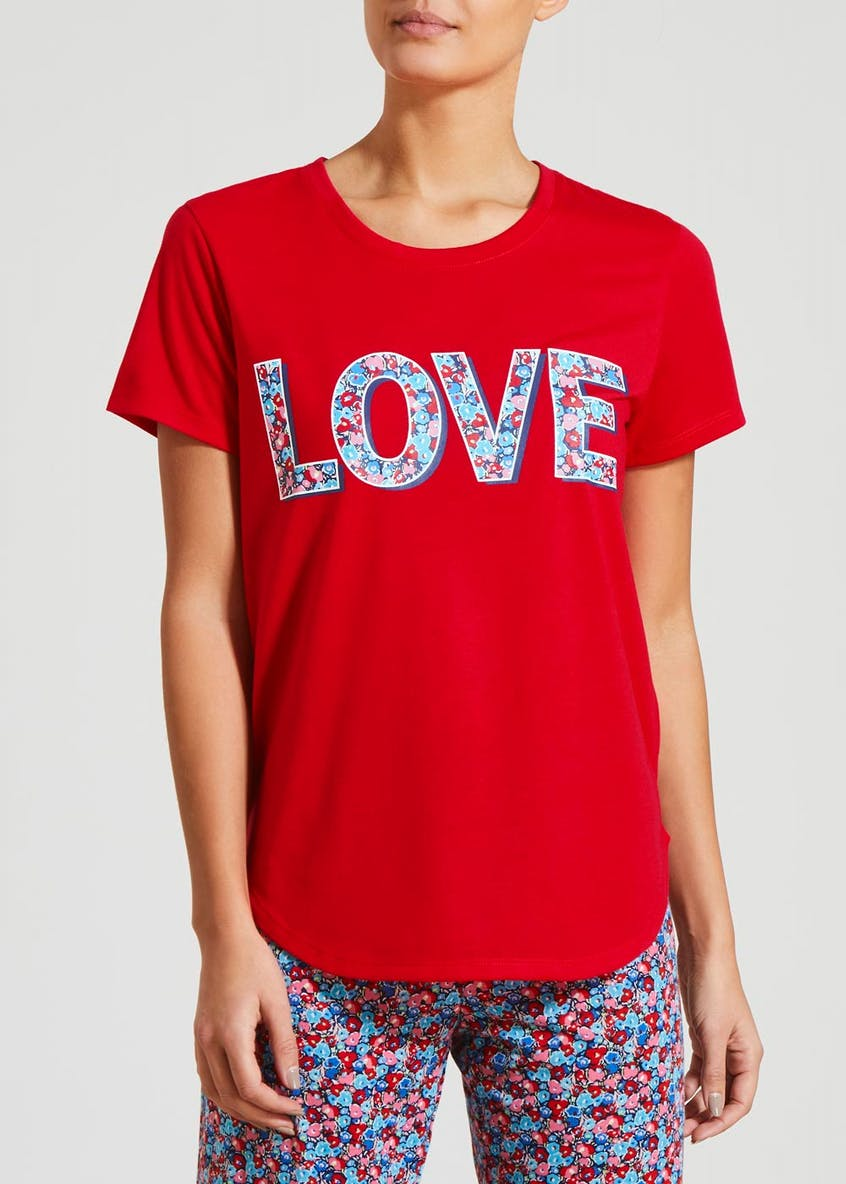 Mix & Match Love Slogan Pyjama Top