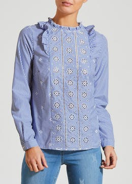 Falmer Pinstripe Schiffley Embroidered Blouse